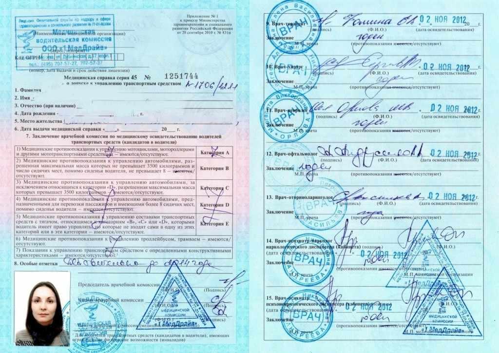 Срок действия медицинской справки на водительские права ПДДюрист